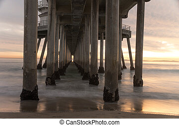 Huntington Beach Pier - Long exposure captures slow moving...
