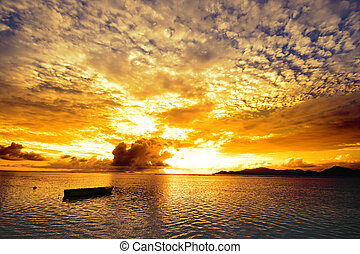 Sunset in the islands - View of sunset skies and Indian...