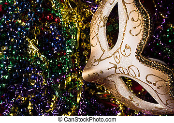Mardi Gras Mask - Colorful Mardi Gras Mask with beaded...