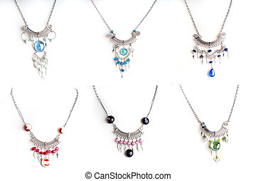 Peruvian Beaded Necklace Set - Set of 6 Peruvian beaded...