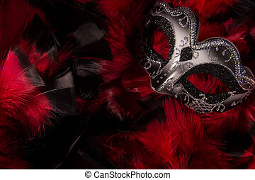 Mardi Gras Mask on Feathers - Mardi Grask mask on abstract...