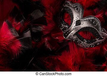 Mardi, gras, máscara, plumas