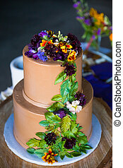 Tree Themed Wedding Cake - Wedding cake has a tree theme to...