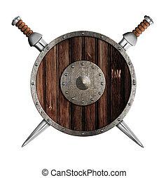 dois, espadas, madeira, redondo, escudo, isolado