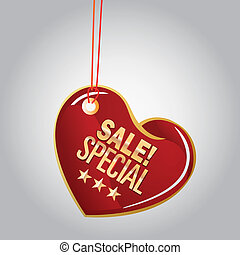 sales - a red heart with some text for sales purposes