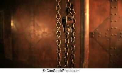 Industrial chain on wall background