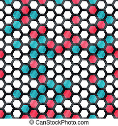 blue and red color cells seamless pattern