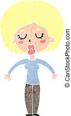 cartoon woman with closed eyes