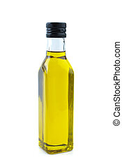 Glass bottle with olive oil isolated on the white background