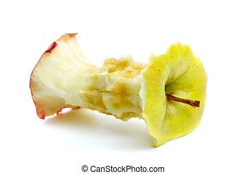Apple core isolated on the white background