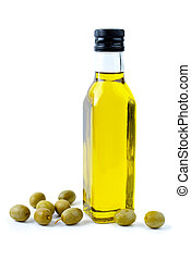 Bottle of olive oil and some olives