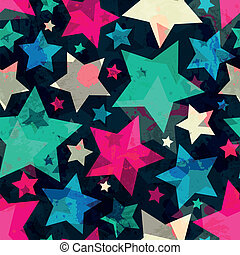 bright star seamless pattern with grunge effect