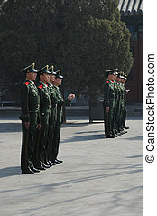 Chinese soldiers in Forbidden City, Beijing, China