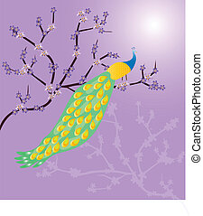 Peacock on a branch - vector illustration