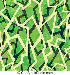 green mosaic geometric seamless pattern with grunge effect