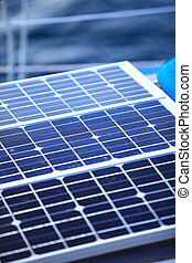 solar panels in sailboat. Renewable eco energy - Solar...