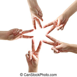 Fingers star shape - Isolated fingers star shape on...