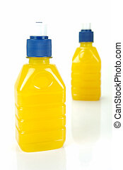Pop Tops - Pop top juice bottles isolated against a white...