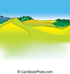 Mountain Meadows - Cartoon Background Illustration, Colored...