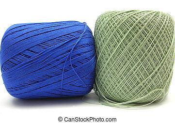 azul, Bolas, dois, verde, branca, lã