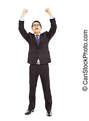 success businessman raised up and shout loudly