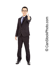 Confident businessman standing arms thumb up
