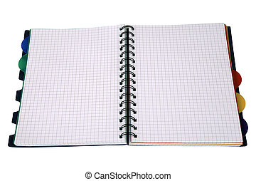 workbook - Open workbook isolated on white background