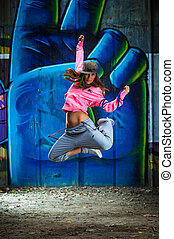 Breakdancer. Selected focus on face