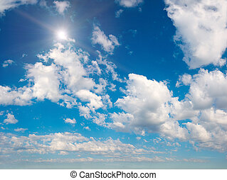 Blue sky with sun - Blue height summer sky with clouds and...