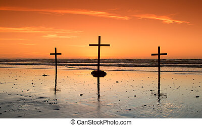 Calvary Beach - Three crosses at sundown on a wonderful...