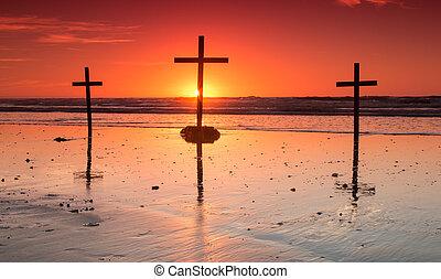 Red Sunset Crosses