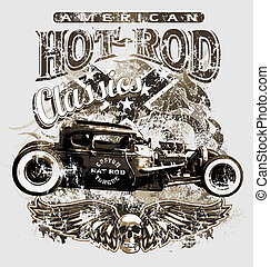 american custom rod classic - hot rod vector for T-shirt...