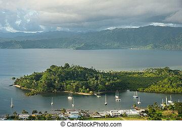 Savusavu marina and Nawi islet, Vanua Levu island, Fiji,...