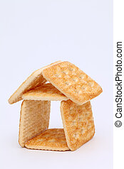 sugar cookies house - Sweet sugar cookies house on white...