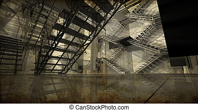 Station Modern industrial interior, stairs, clean space in...