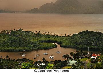 Savusavu marina and Nawi islet, Vanua Levu island, Fiji -...