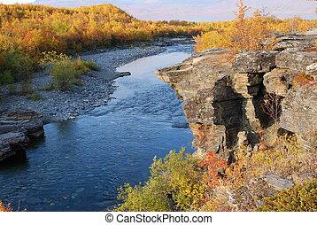 Autumn river - Beautiful autumn scene: around river in...