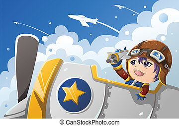 Kid playing with an airplane - A vector illustration of...