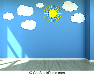 Empty kids room with wall decoration