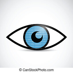 binary eye illustration design over a white background