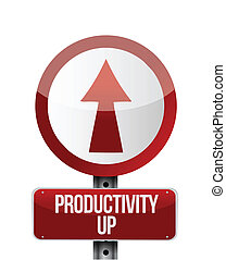 productivity up sign illustration design over a white...