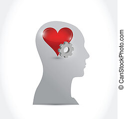 head heart and gear illustration design