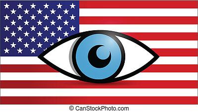 usa under surveillance illustration design over a flag...