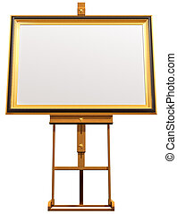 Blank picture on artist easel - Illustration of a blanked...