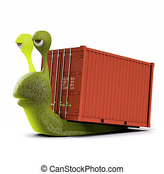 3d Snail haulage contractor - 3d render of a snail hauling a...