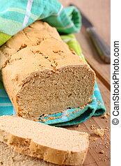 caseiro, gluten, livre, pão, madeira, tabela