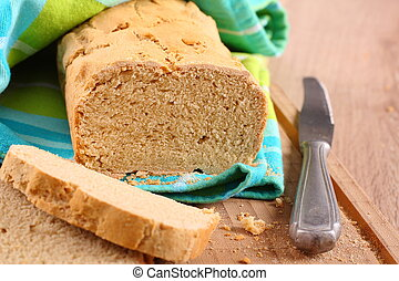 gluten, livre, corte, tábua, Forno, fresco, pão