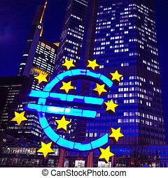 Euro Sign - February 12 : Euro Sign European Central Bank...