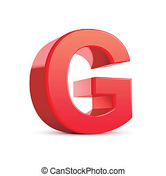 3d red letter G isolated white background