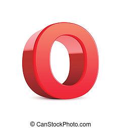 3d red letter O isolated white background